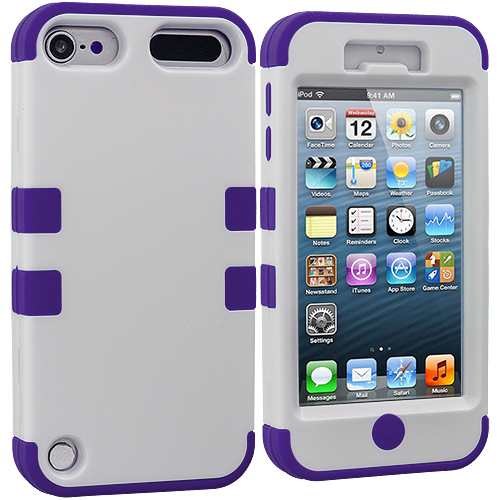 Apple iPod Touch 5th 6th Generation 2 in 1 Combo Bundle Pack - Purple / Red Hybrid Tuff Hard/Soft 3-Piece Case Cover : Color Purple / White