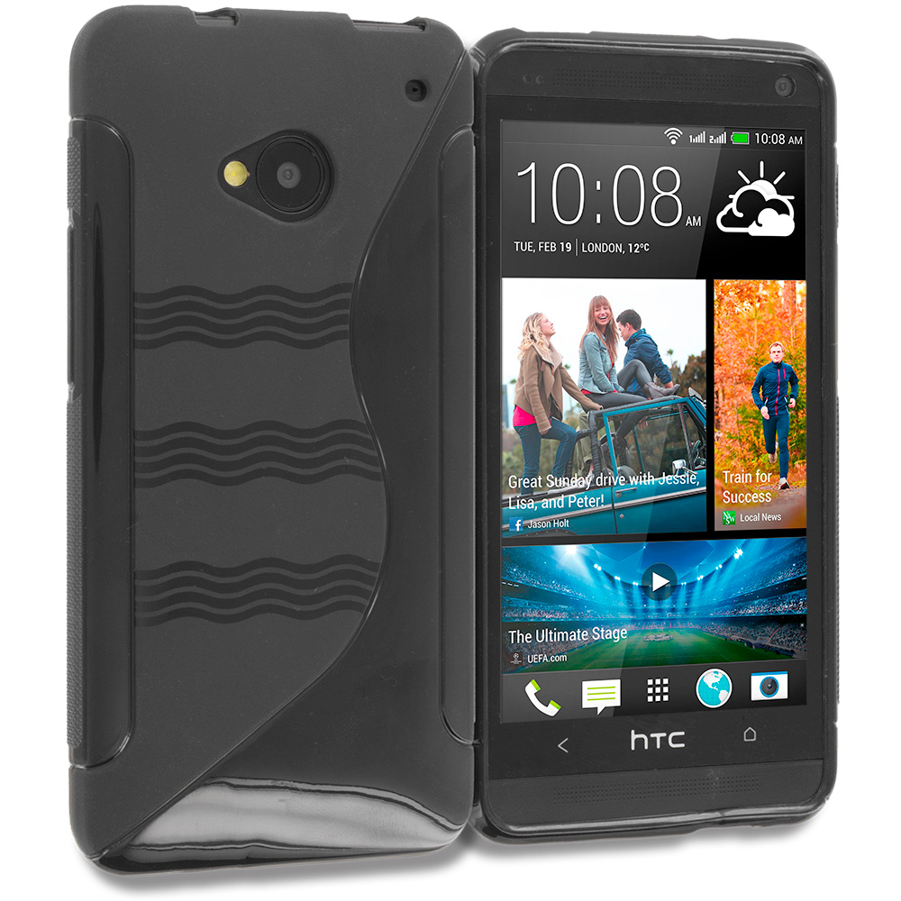 HTC One M7 Black Plain TPU Rubber Skin Case Cover
