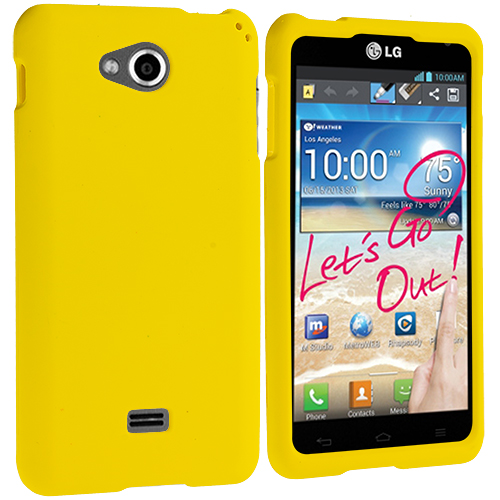 LG Spirit 4G MS870 Yellow Hard Rubberized Case Cover