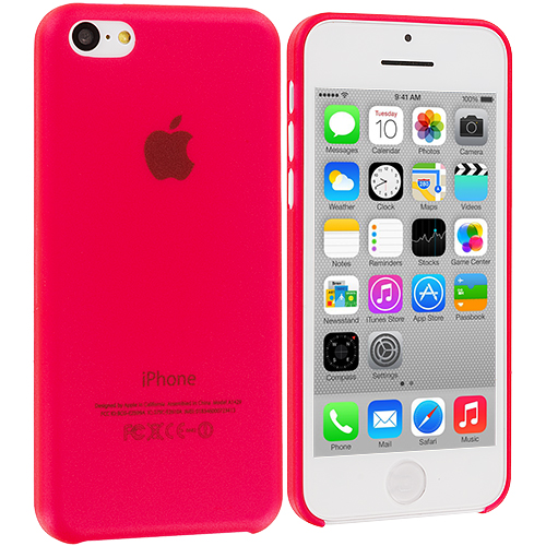 Apple iPhone 5C 3 in 1 Combo Bundle Pack - Hot Pink Yellow 0.3mm Crystal Hard Back Cover Case : Color Red 0.3mm