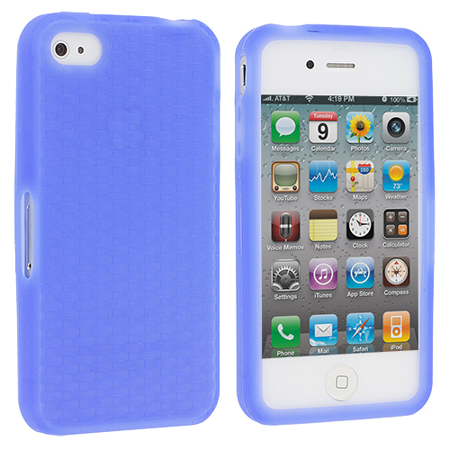 Apple iPhone 4 / 4S Blue Silicone Soft Skin Case Cover