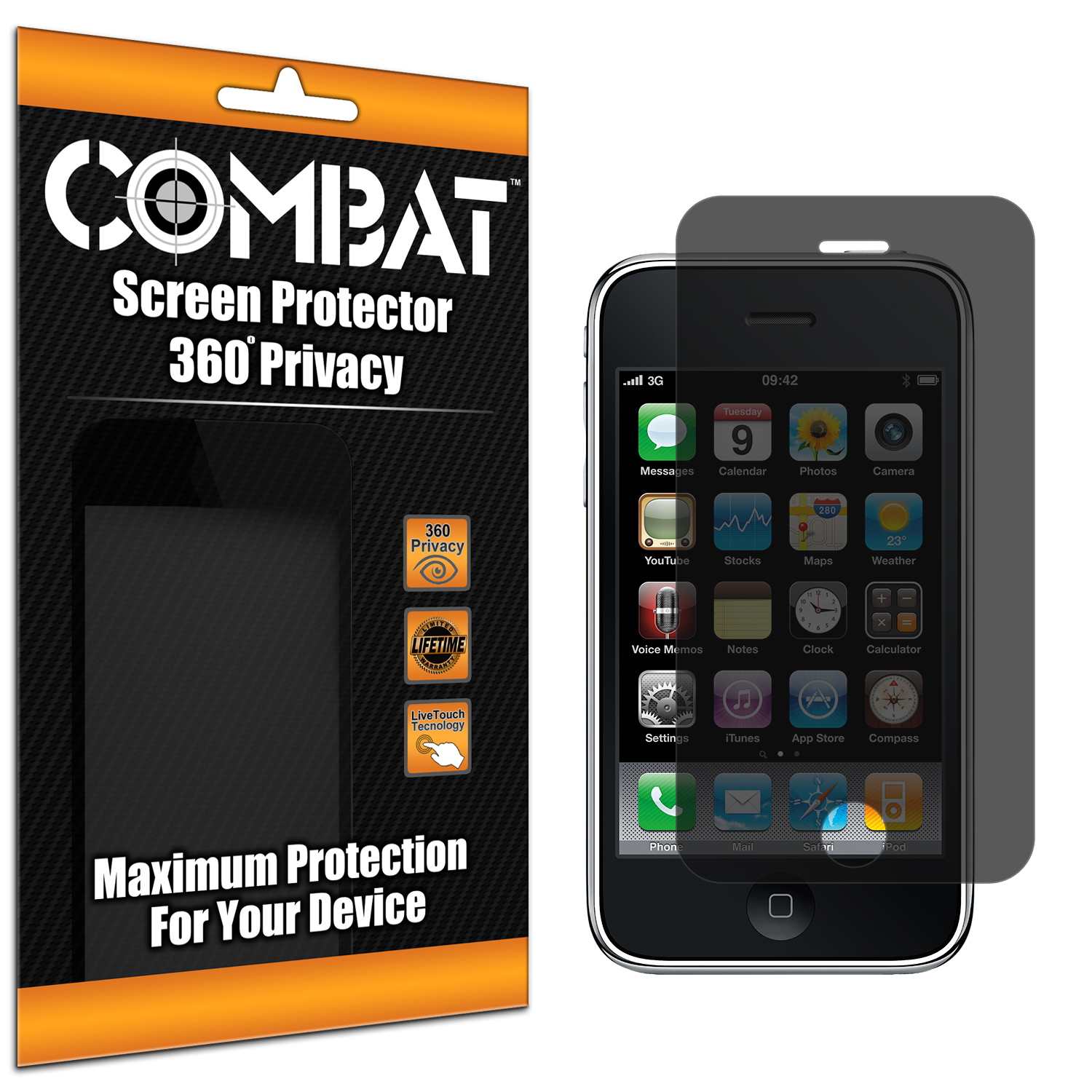 Apple iPhone 3G / 3GS Combat 360 4-Way Privacy Screen Protector