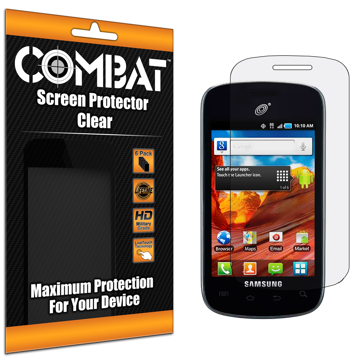 Samsung Proclaim S720C Combat 6 Pack HD Clear Screen Protector