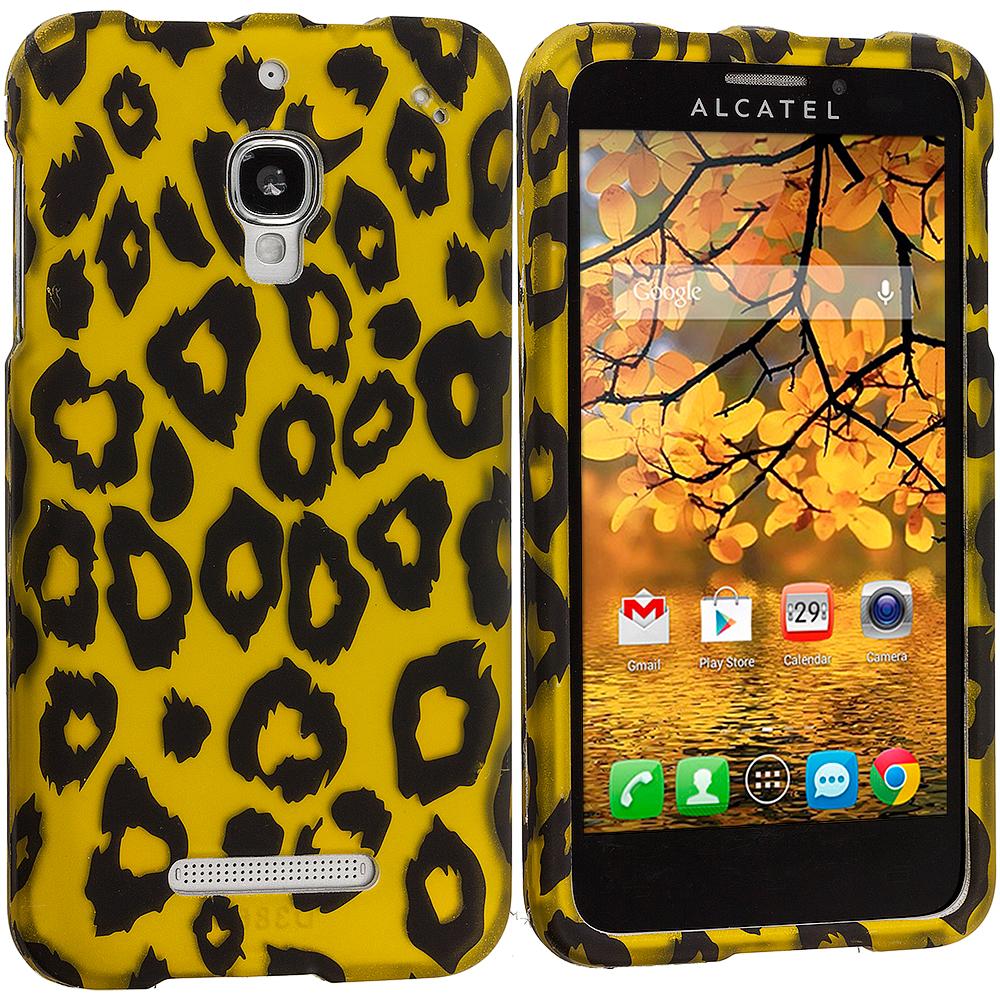 Alcatel One Touch Fierce 7024W Black Leopard on Golden Hard Rubberized Design Case Cover