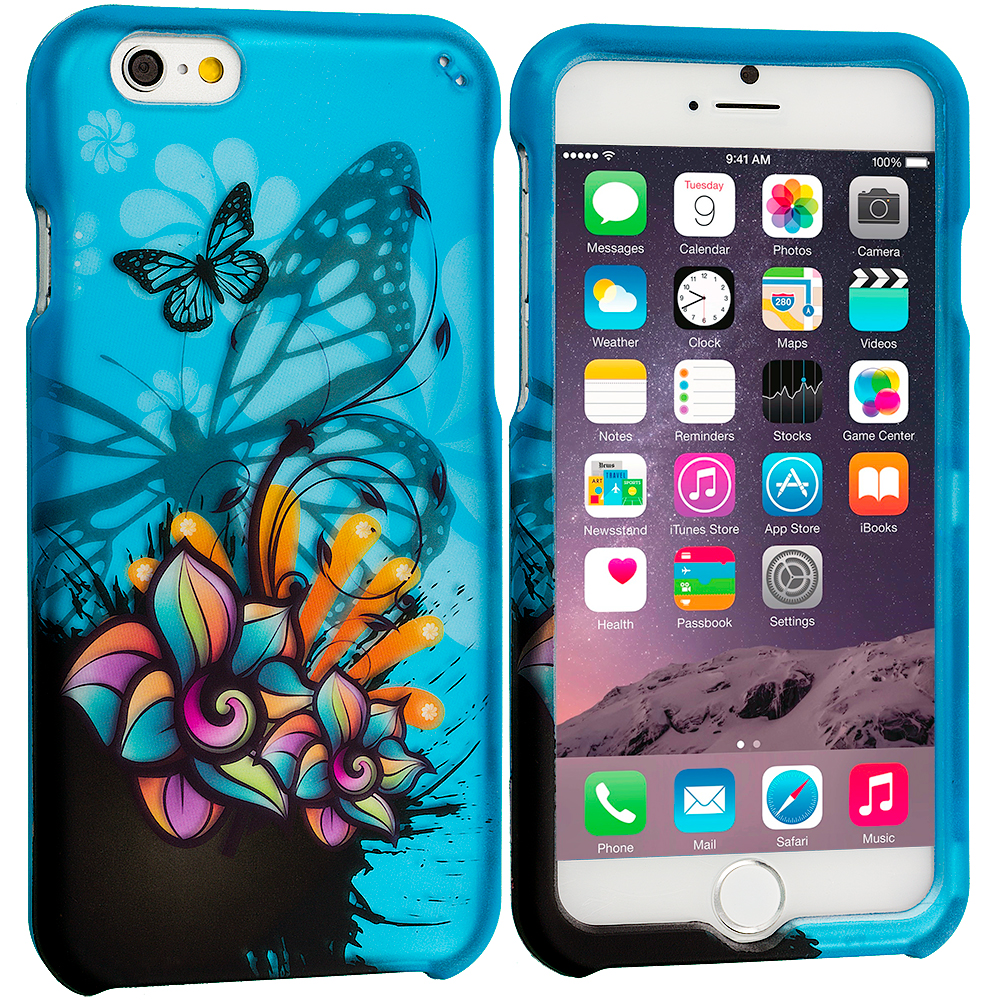 Apple iPhone 6 6S (4.7) Butterfly Flower on Blue 2D Hard Rubberized Design Case Cover