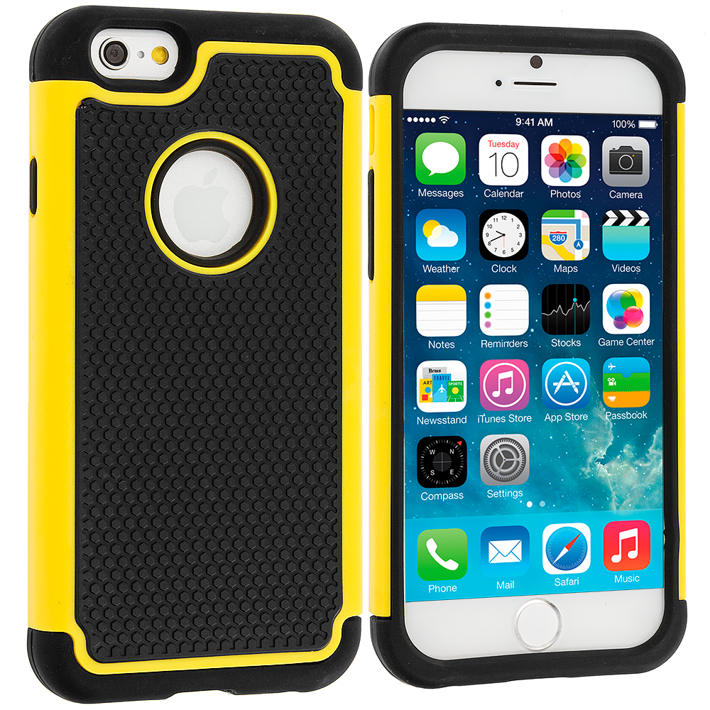 Apple iPhone 6 Plus 6S Plus (5.5) Black / Yellow Hybrid Rugged Grip Shockproof Case Cover