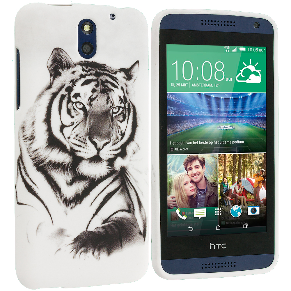 HTC Desire 610 White Tiger TPU Design Soft Rubber Case Cover