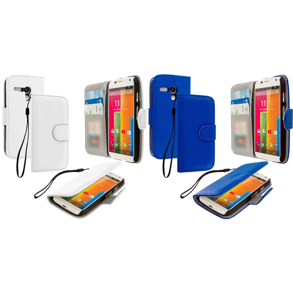 Motorola Moto G 2 in 1 Combo Bundle Pack - Blue White Leather Wallet Pouch Case Cover with Slots