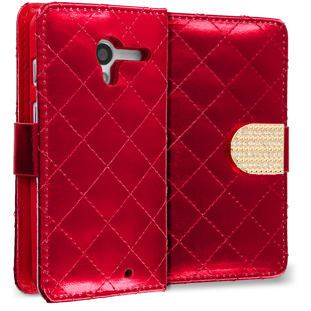 Motorola Moto G Red Luxury Wallet Diamond Design Case Cover With Slots
