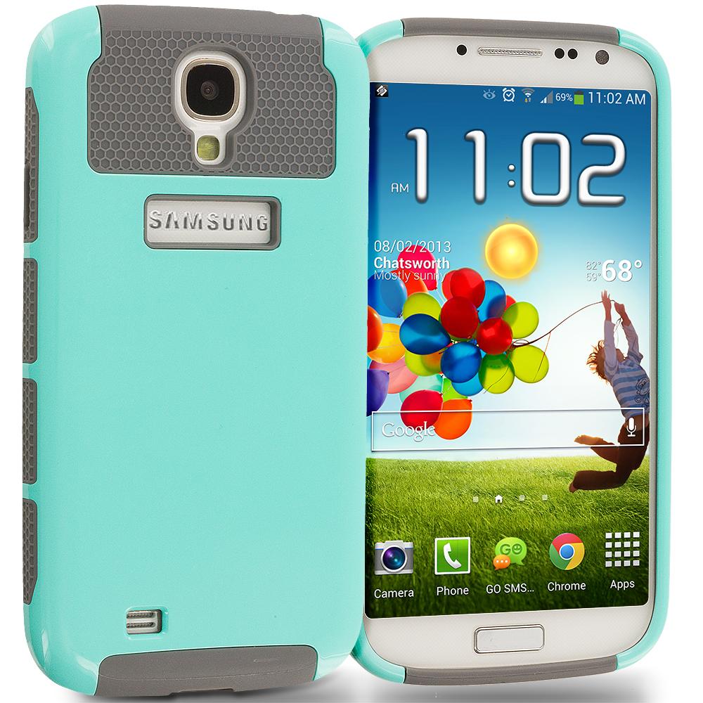 Samsung Galaxy S4 Mint / Grey Hybrid Hard TPU Honeycomb Rugged Case Cover