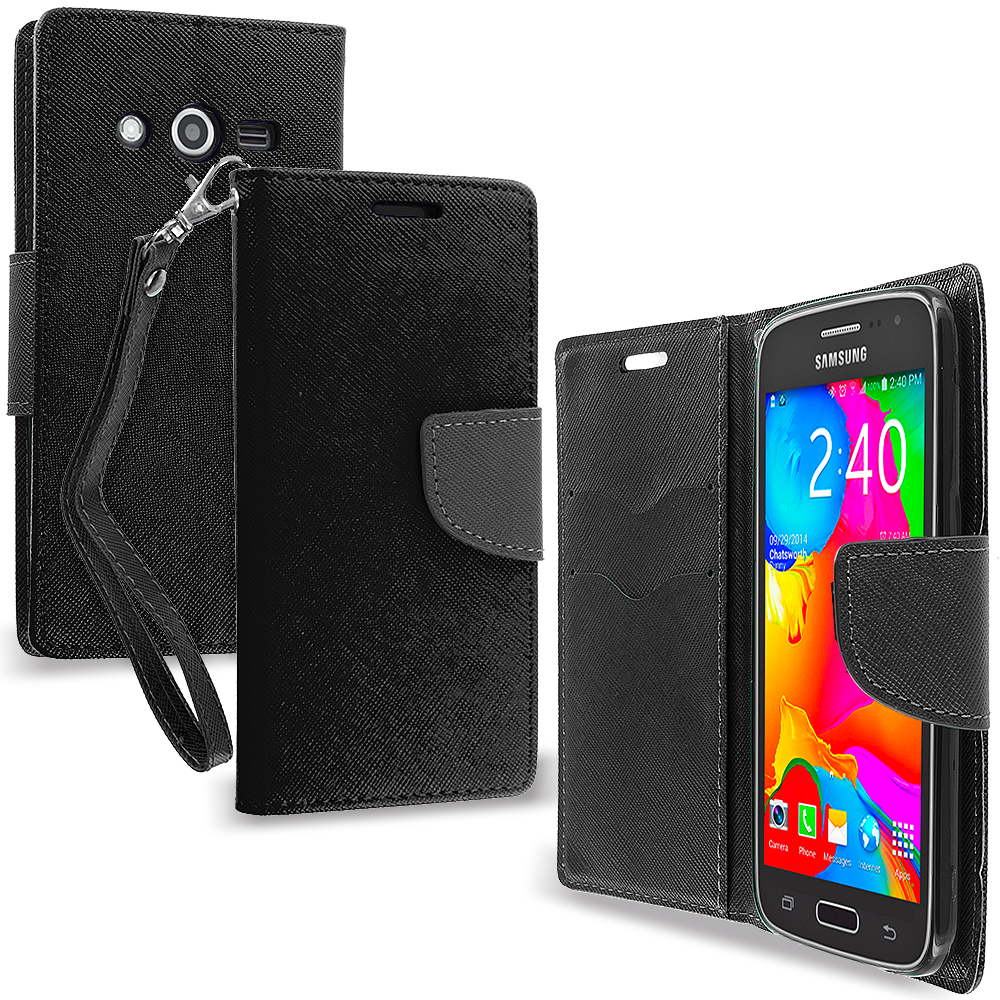 Samsung Galaxy Avant G386 Black / Black Leather Flip Wallet Pouch TPU Case Cover with ID Card Slots