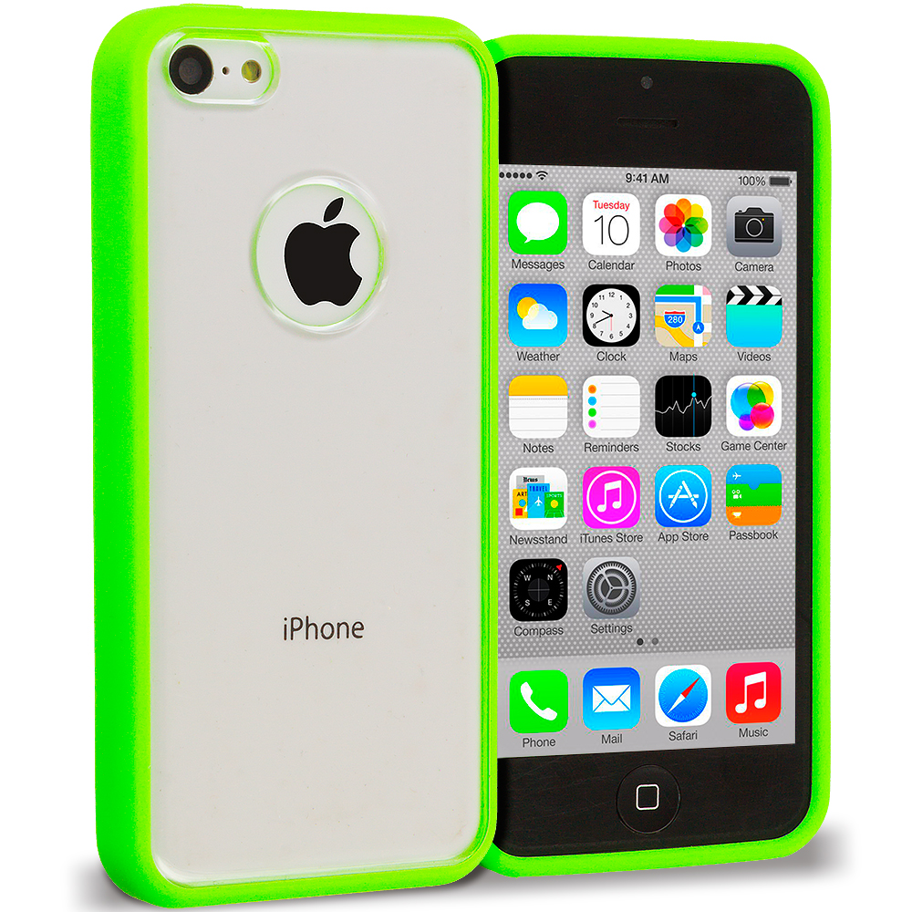 Apple iPhone 5C 2 in 1 Combo Bundle Pack - Yellow Green TPU Plastic Hybrid Case Cover : Color Neon Green