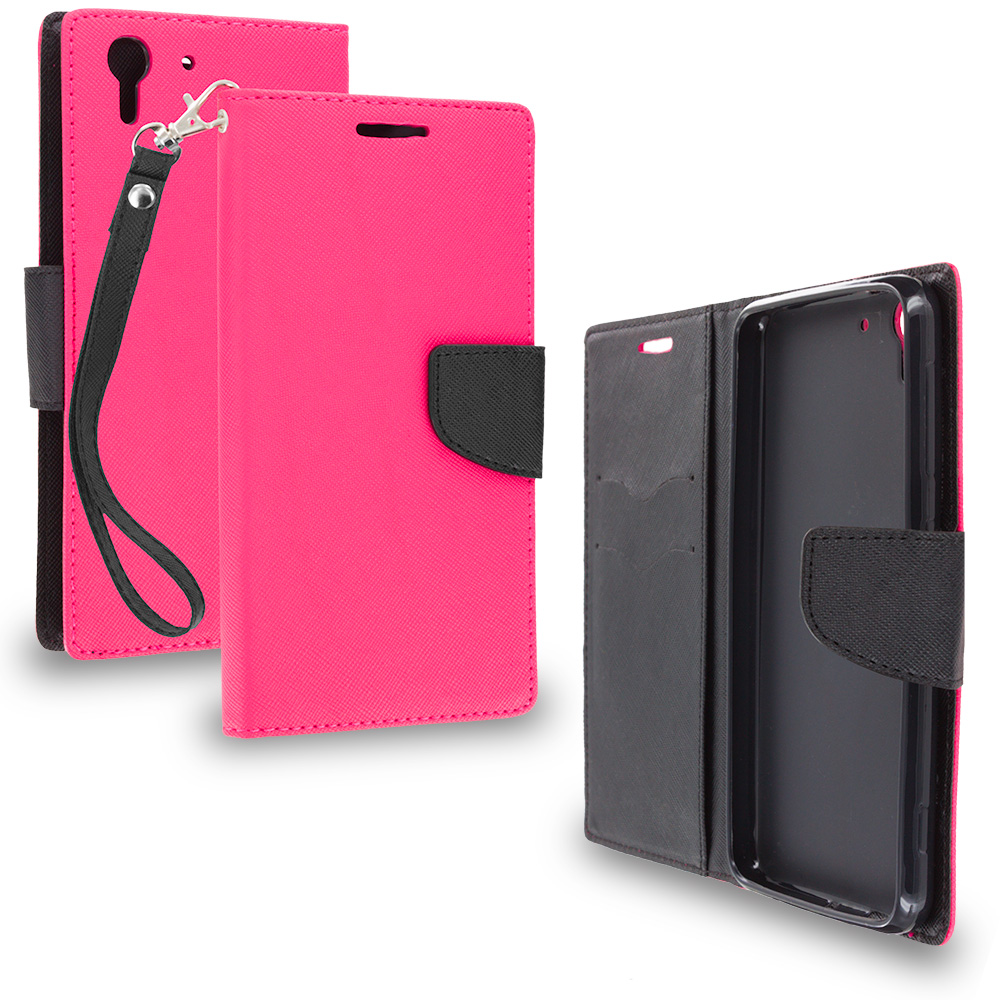 HTC Desire EYE Hot Pink / Black Leather Flip Wallet Pouch TPU Case Cover with ID Card Slots