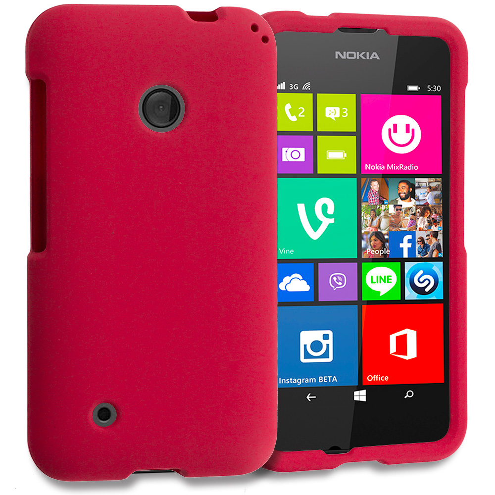 Nokia Lumia 530 Red Hard Rubberized Case Cover