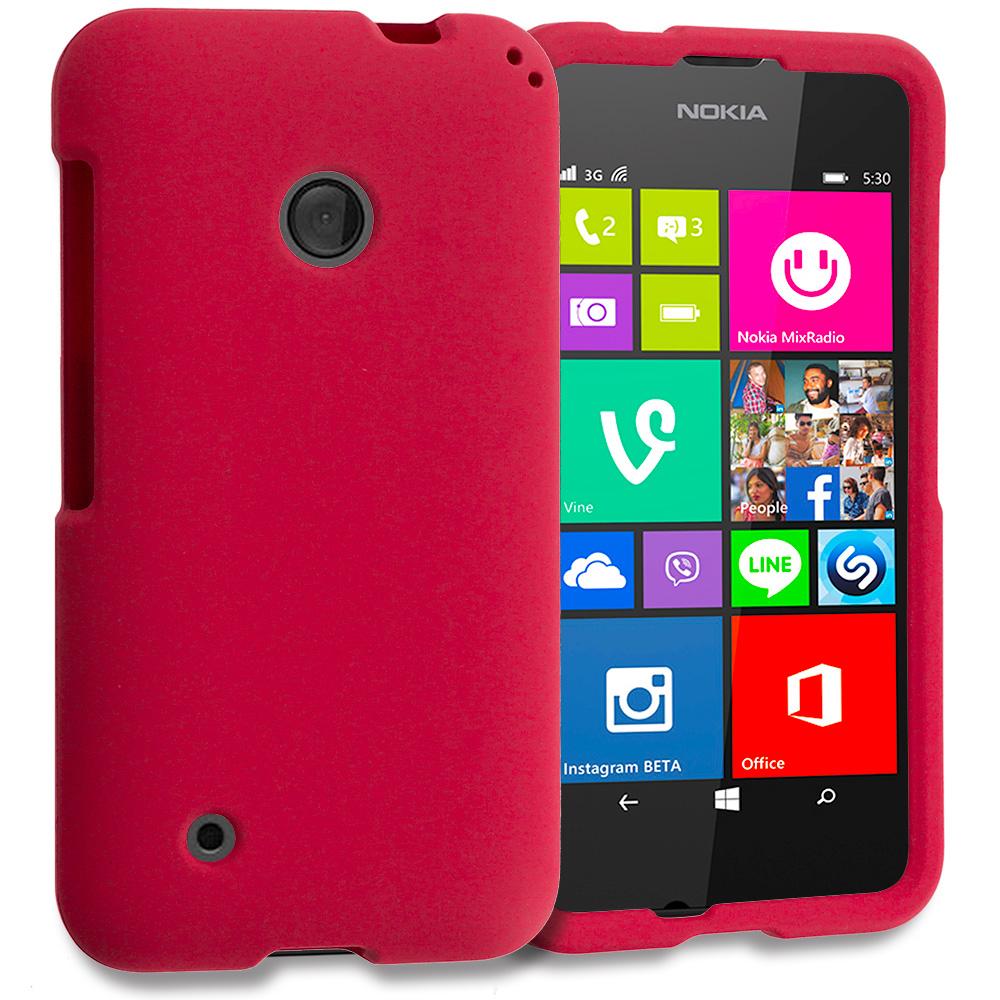 Nokia Lumia 530 Red Hard Rubberized Case Cover