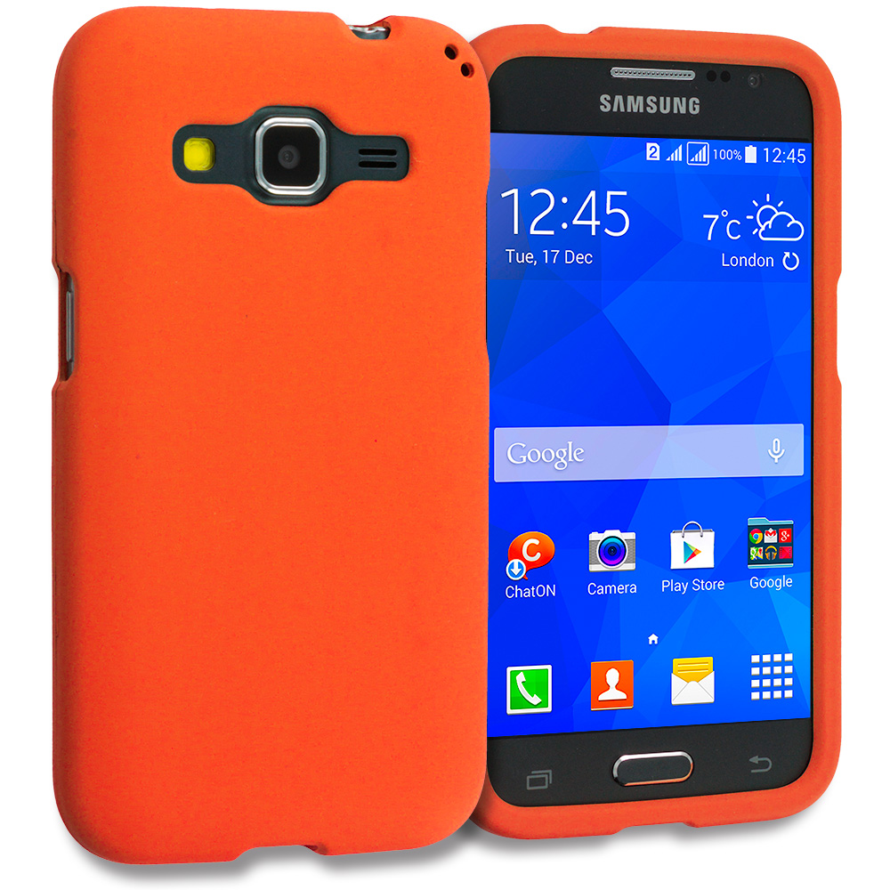 Samsung Galaxy Prevail LTE Core Prime G360P / Prevail LTE Orange Hard Rubberized Case Cover