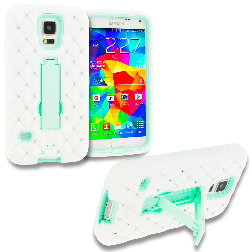 Samsung Galaxy S5 White / Mint Green Hybrid Diamond Bling Hard Soft Case Cover with Kickstand