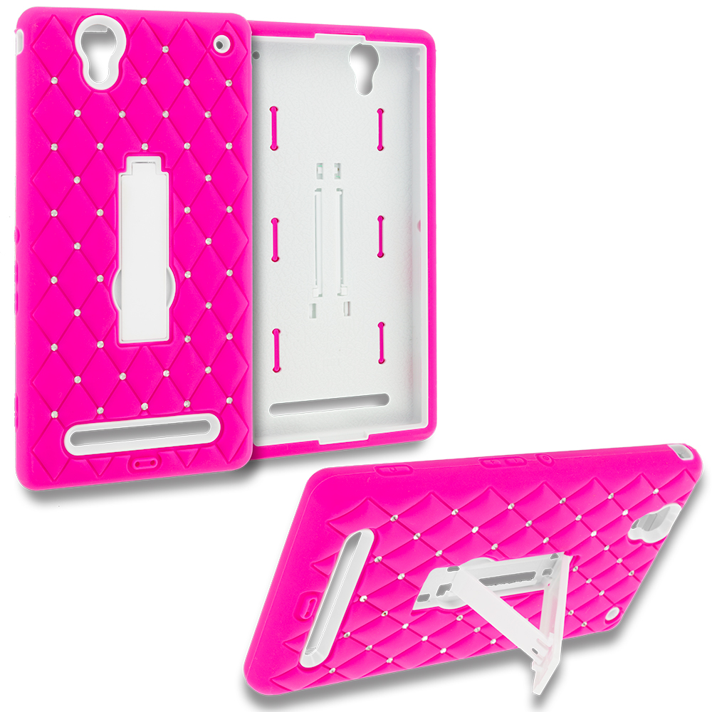 Sony Xperia T2 Ultra D5303 Hot Pink / White Hybrid Diamond Bling Hard Soft Case Cover with Kickstand