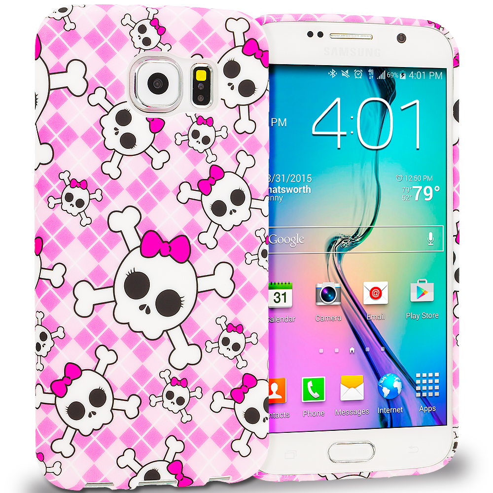 Samsung Galaxy S6 Cute Skulls TPU Design Soft Rubber Case Cover