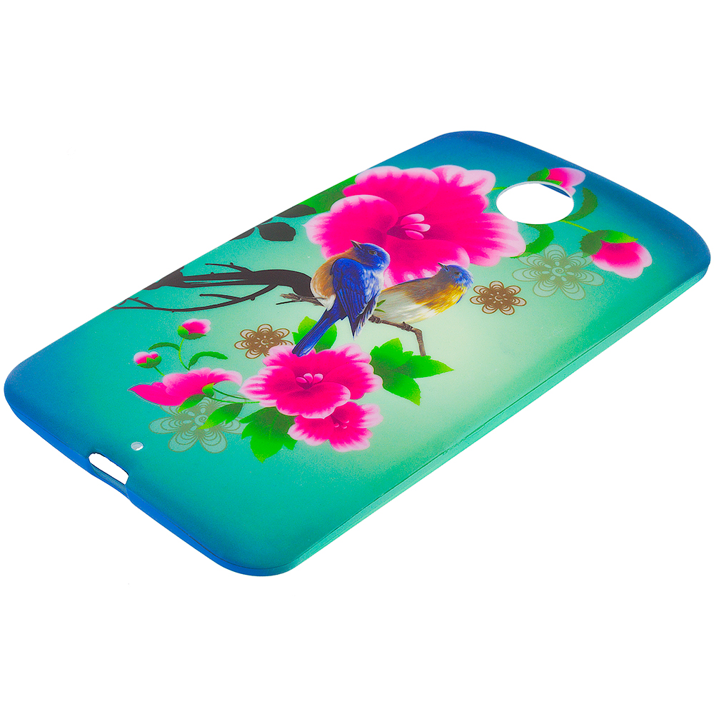 Motorola Google Nexus 6 Blue Bird Pink Flower TPU Design Soft Rubber Case Cover