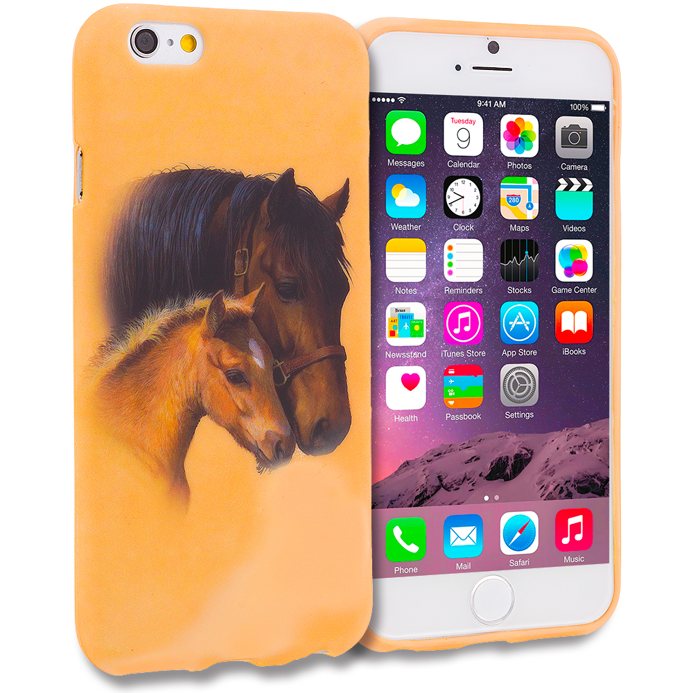 Apple iPhone 6 6S (4.7) 11 in 1 Combo Bundle Pack - TPU Design Soft Rubber Case Cover : Color Horse