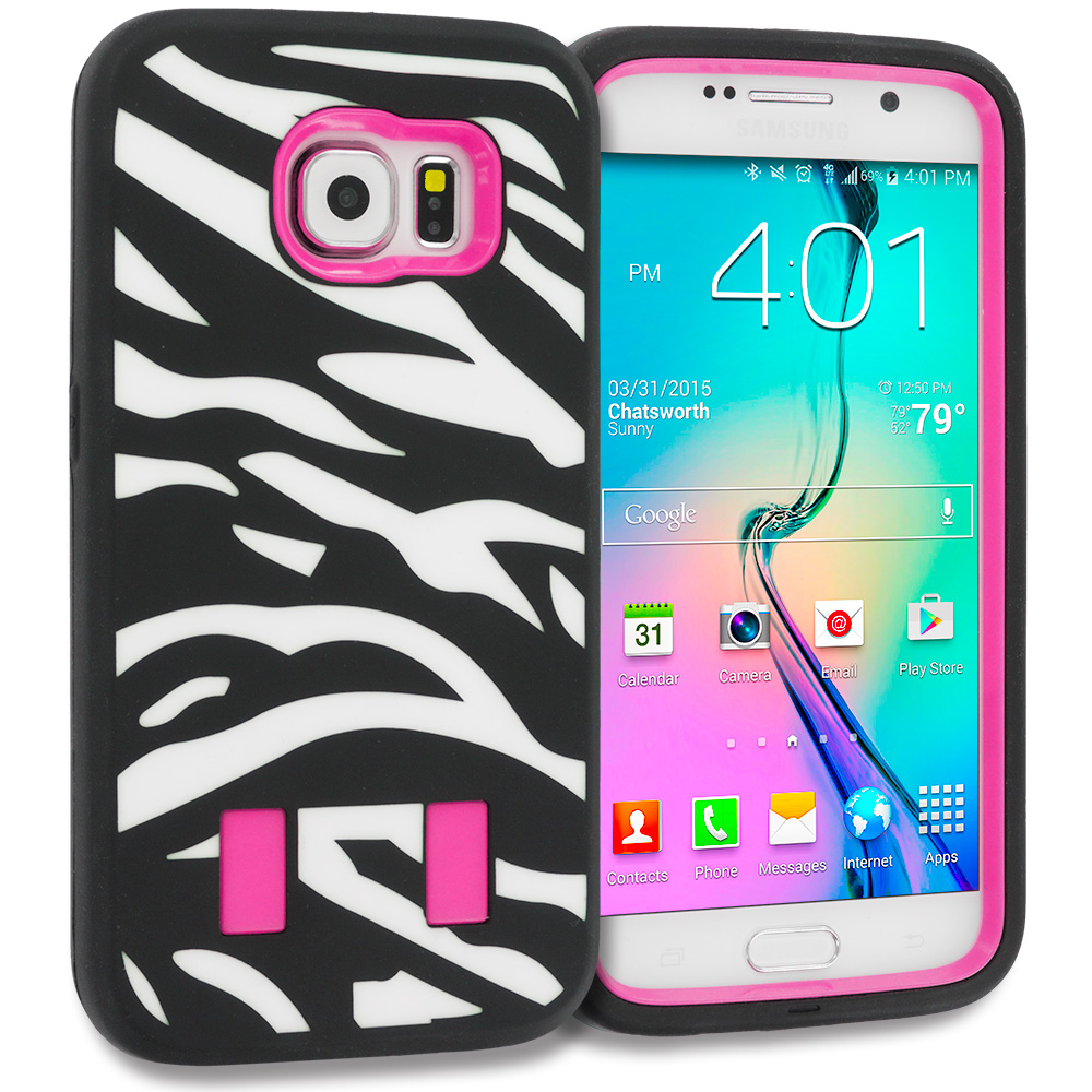 Samsung Galaxy S6 2 in 1 Combo Bundle Pack - Black Hybrid Deluxe Hard/Soft Case Cover : Color Zebra Hot Pink