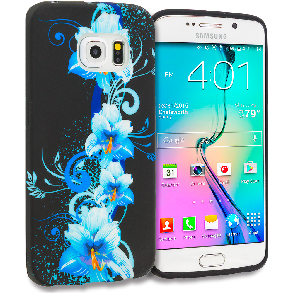 Samsung Galaxy S6 Edge Blue Flowers TPU Design Soft Rubber Case Cover