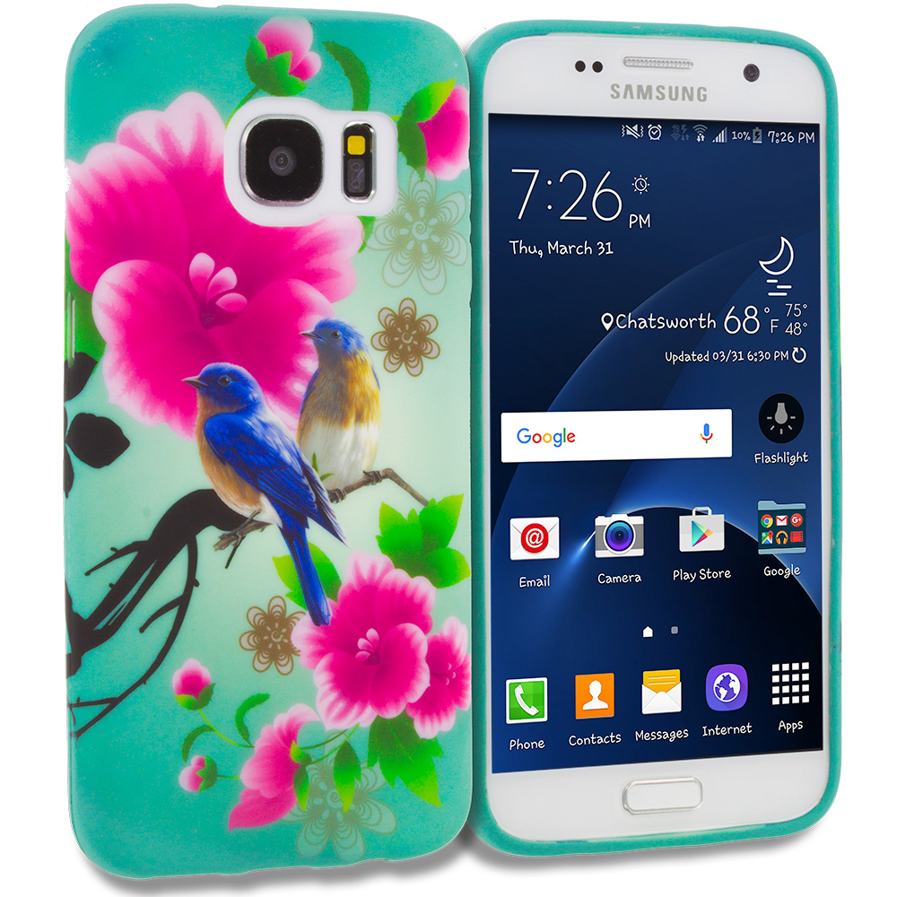 Samsung Galaxy S7 Combo Pack : Blue Bird Pink Flower TPU Design Soft Rubber Case Cover : Color Blue Bird Pink Flower