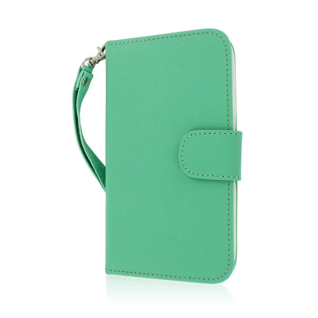 Samsung Galaxy Note 2 - Mint/ White MPERO FLEX FLIP Wallet Case Cover