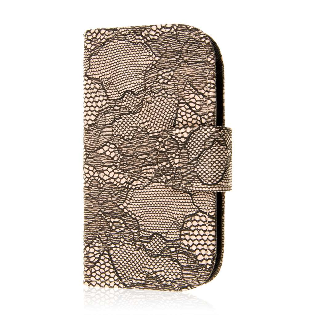 Samsung Galaxy Light - Black Lace MPERO FLEX FLIP Wallet Case Cover