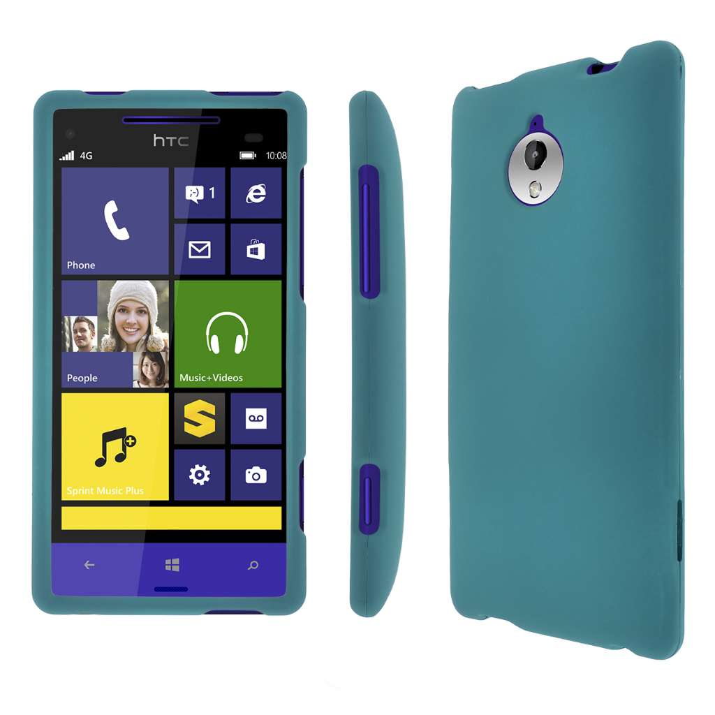 HTC 8XT MPERO Full Protection Hard Rubberized Teal Case Cover
