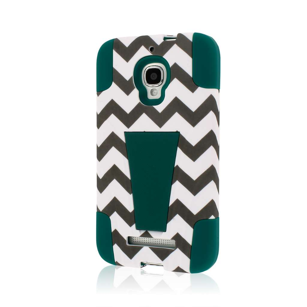 Alcatel OneTouch Fierce - Teal Chevron MPERO IMPACT X - Kickstand Case Cover
