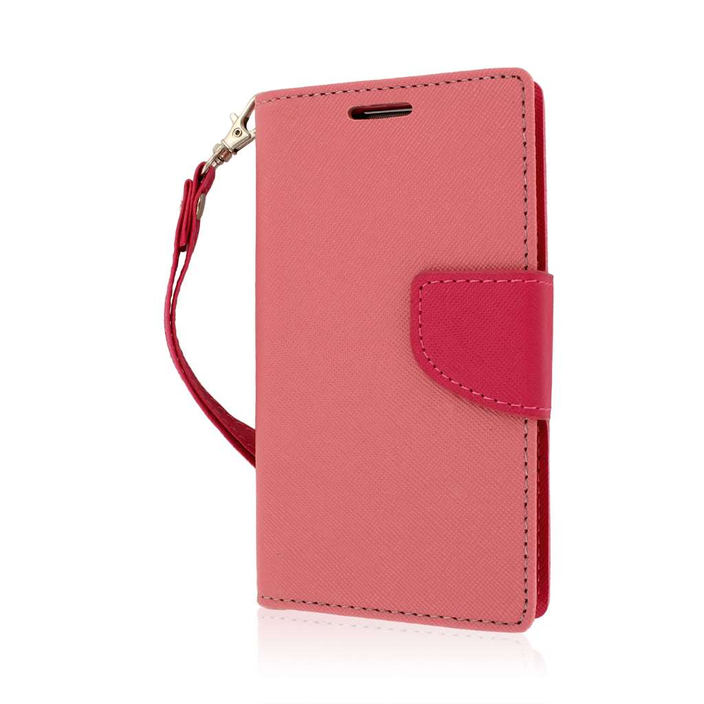 LG Optimus L70 - Hot Pink MPERO FLEX FLIP 2 Wallet Stand Case Cover
