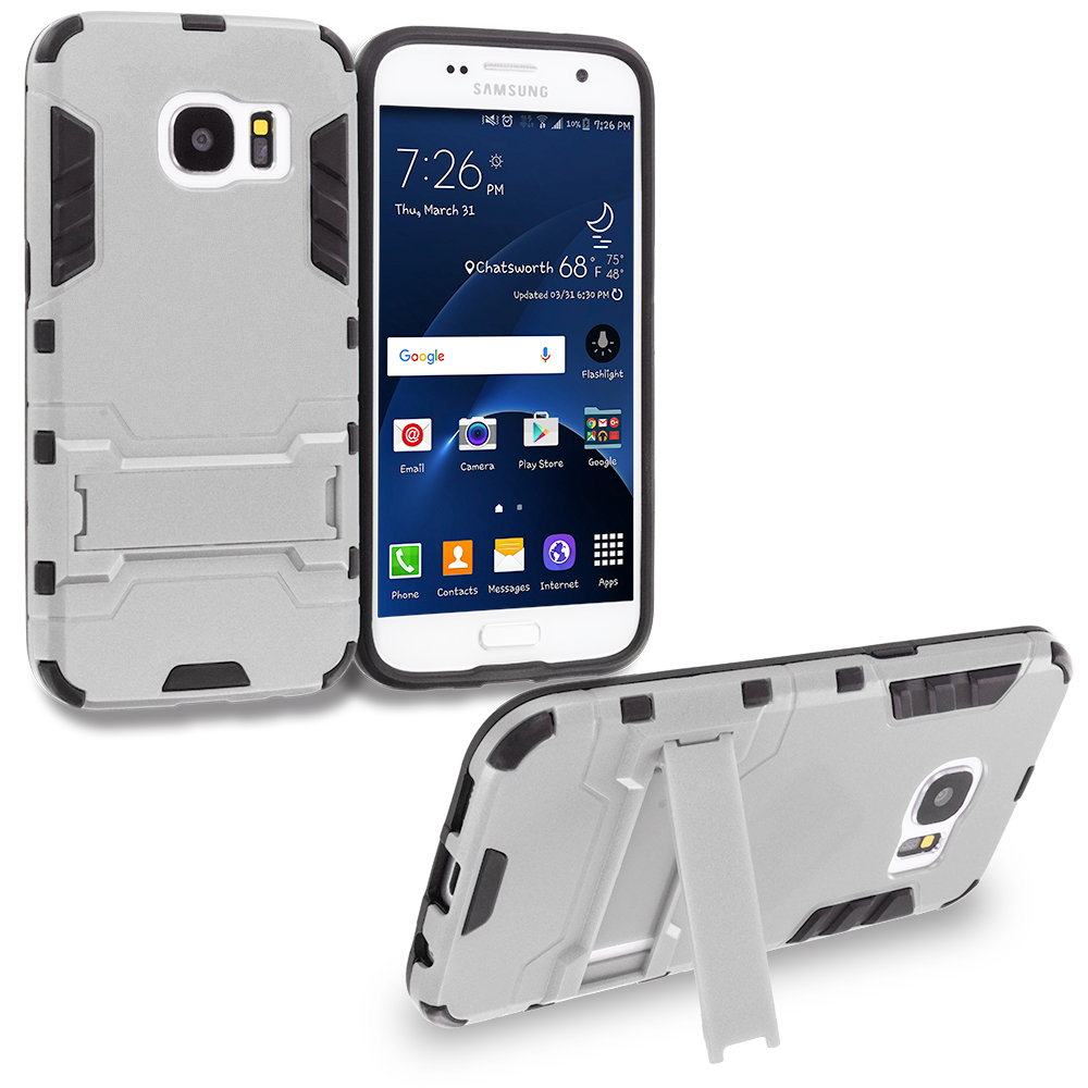 Samsung Galaxy S7 Combo Pack : Gold Hybrid Transformer Armor Slim Shockproof Case Cover Kickstand : Color White