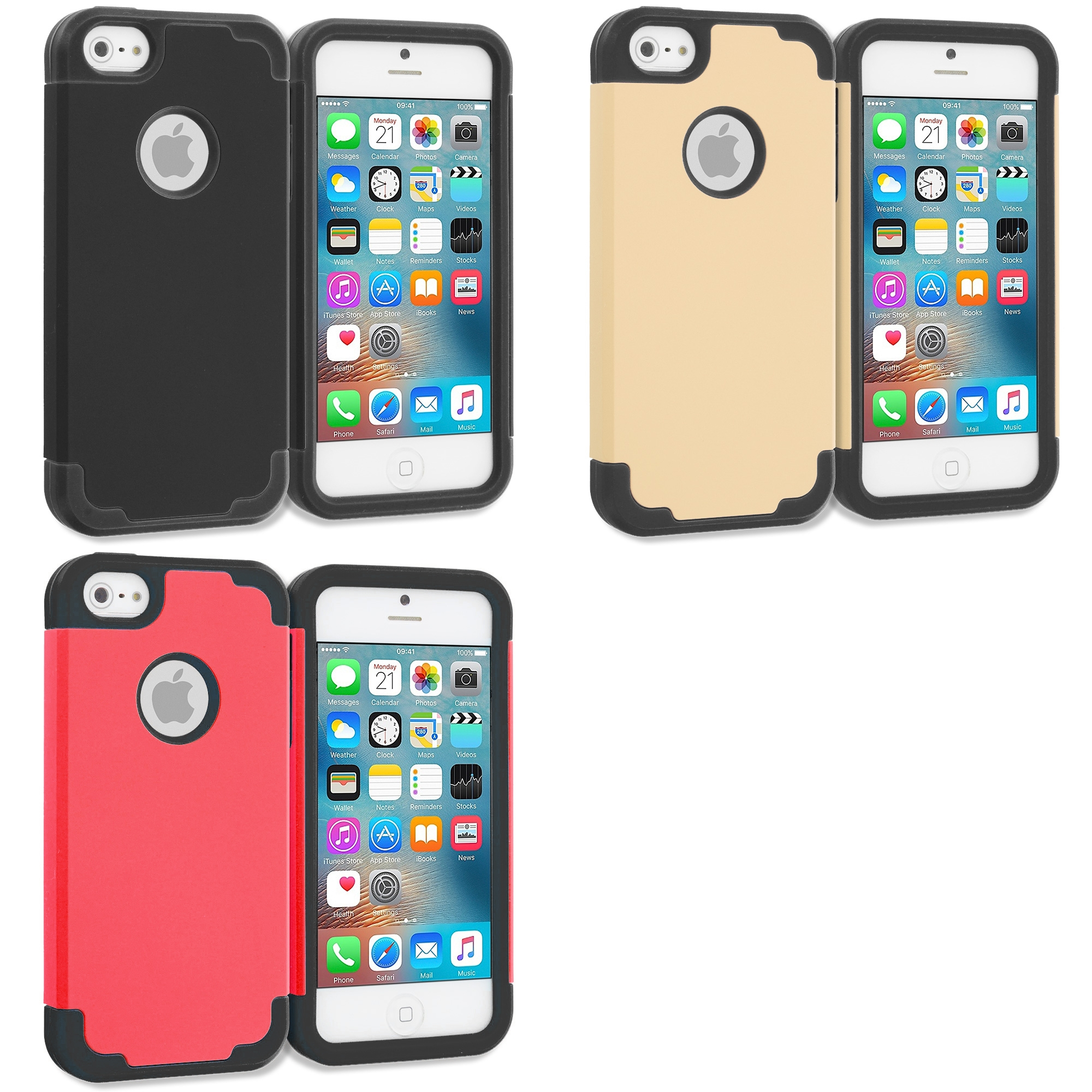 Apple iPhone 5/5S/SE Combo Pack : Black / Black Hybrid Slim Hard Soft Rubber Impact Protector Case Cover