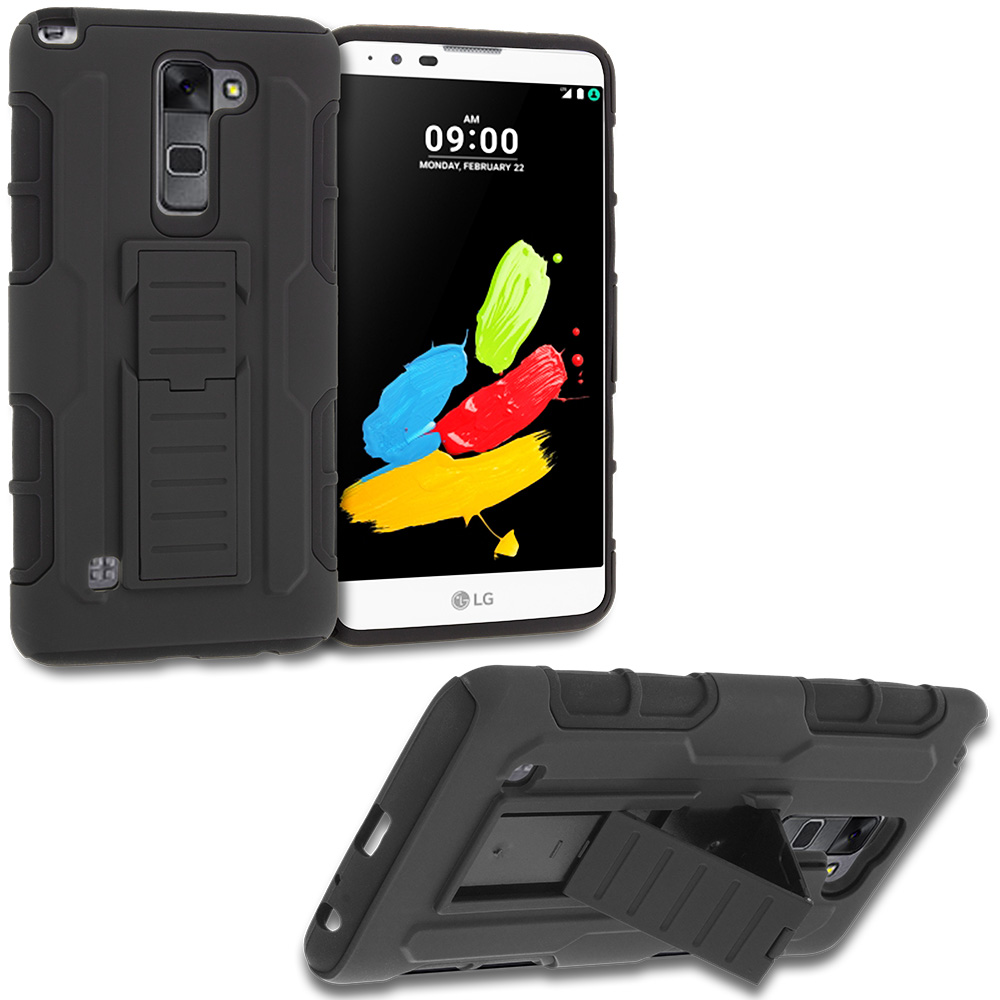 LG Stylo 2 LS775 Black Hybrid Shock Absorption Robot Armor Heavy Duty Case Cover with Belt Clip Holster