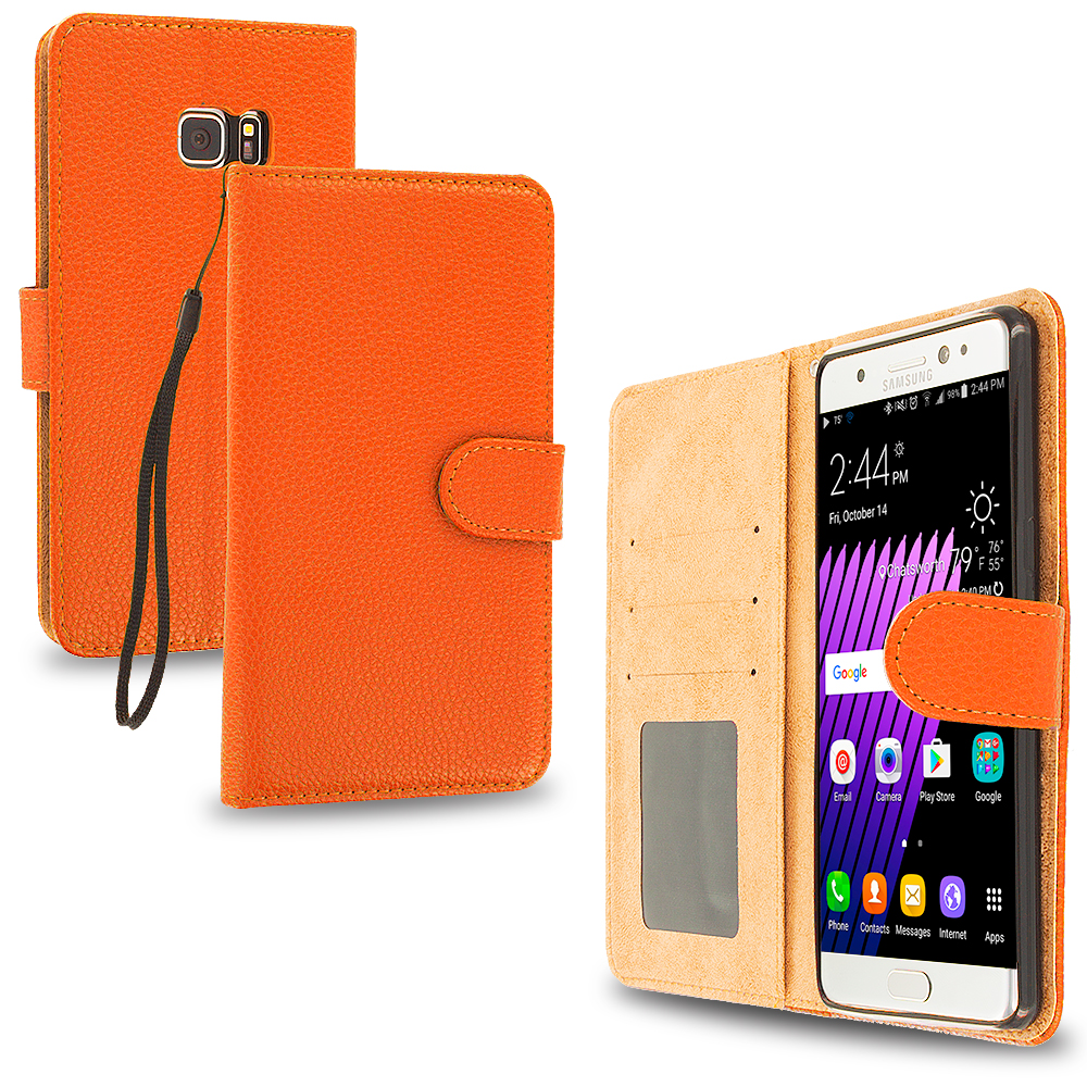 Samsung Galaxy Note 7 Orange Leather Wallet Pouch Case Cover with Slots