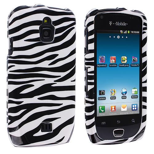 Samsung Exhibit 4G T759 Black / White Zebra Design Crystal Hard Case Cover