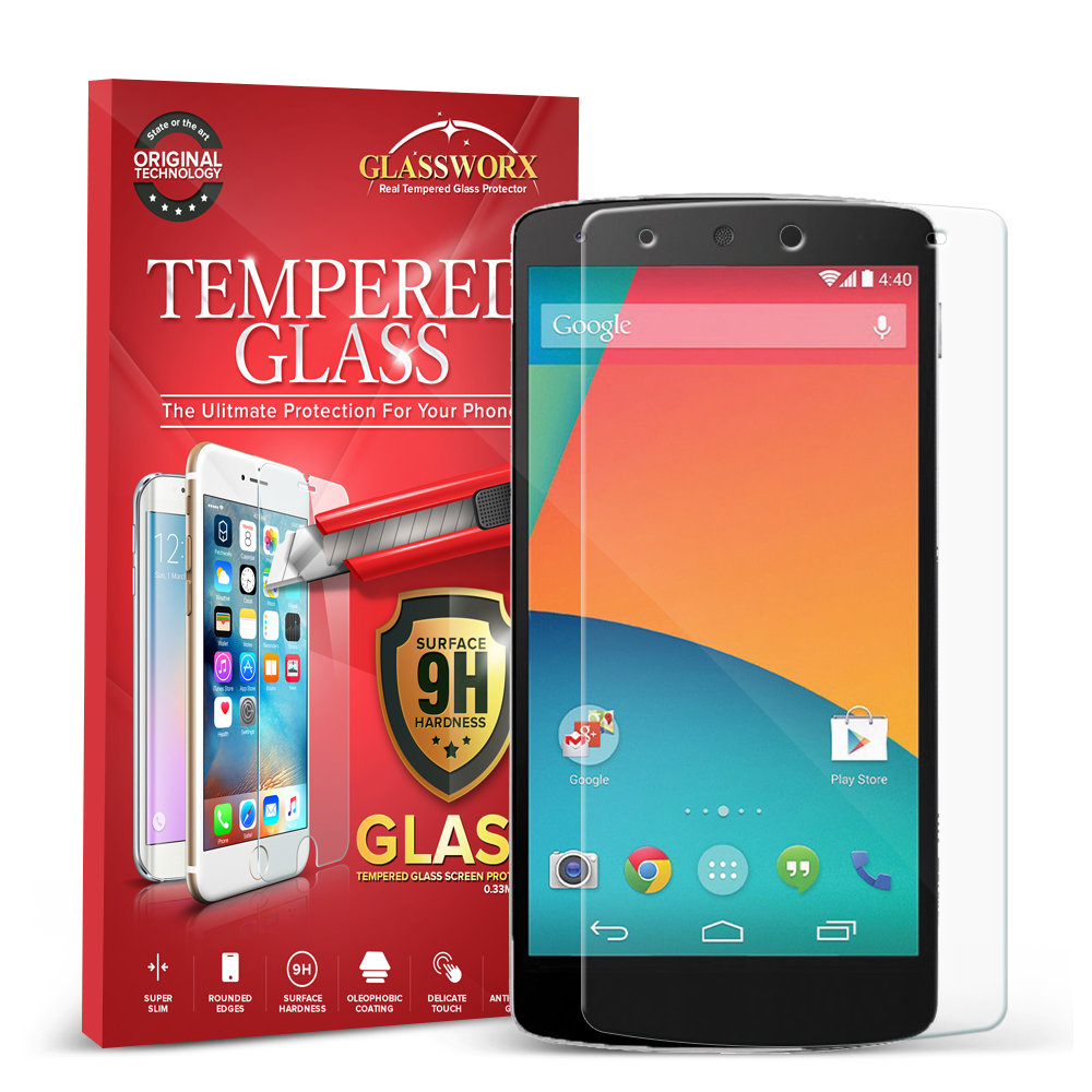 LG Google Nexus 5 GlassWorX HD Clear Tempered Glass Screen Protector