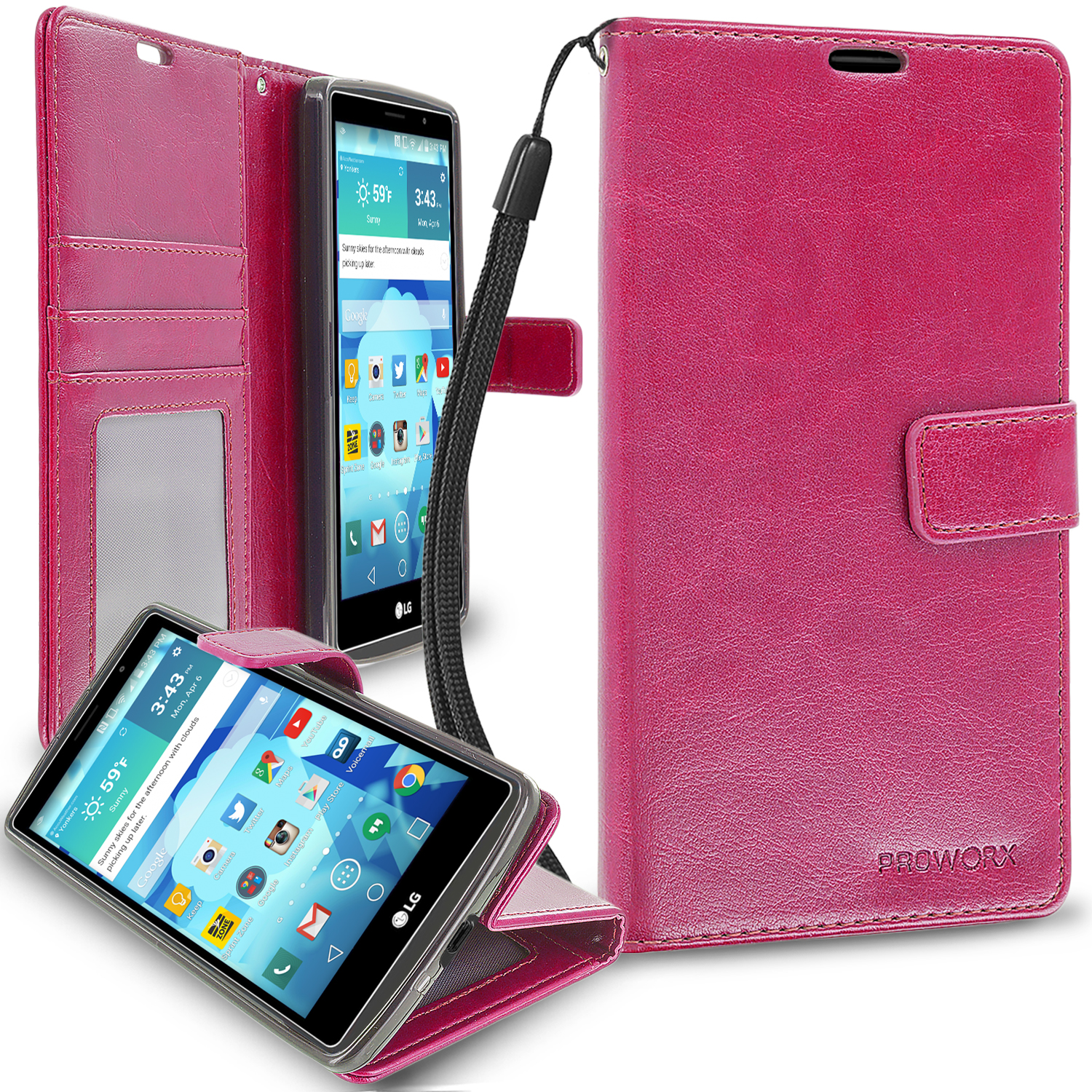 LG G Vista 2 Hot Pink ProWorx Wallet Case Luxury PU Leather Case Cover With Card Slots & Stand