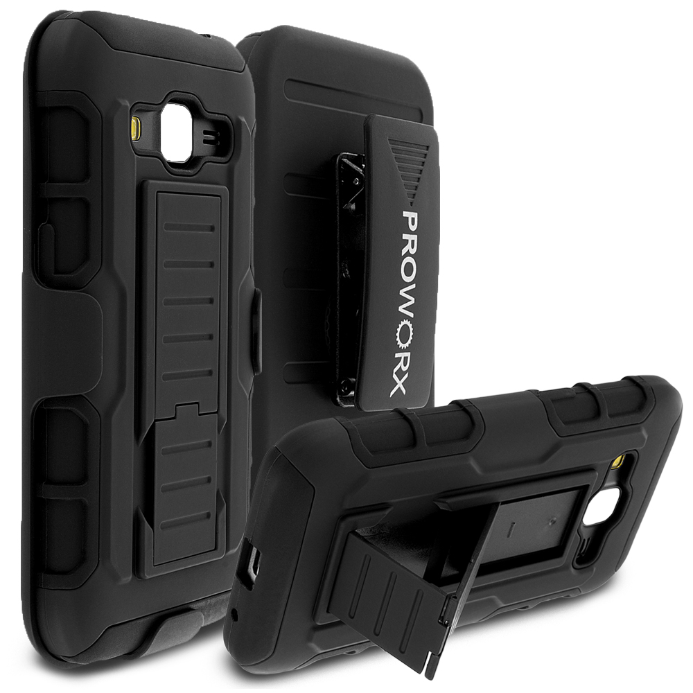 Samsung Galaxy Prevail LTE Core Prime G360P Black ProWorx Heavy Duty Shock Absorption Armor Defender Holster Case Cover With Belt Clip