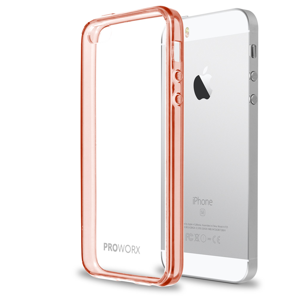 Apple iPhone 5/5S/SE Rose Gold ProWorx Shock Absorption Case Bumper TPU & Anti-Scratch Clear Back Cover
