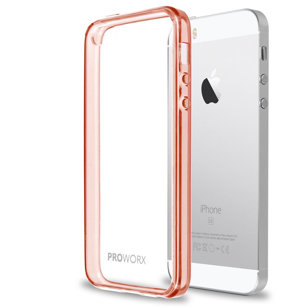 Apple iPhone 5 Rose Gold ProWorx Shock Absorption Case Bumper TPU & Anti-Scratch Clear Back Cover