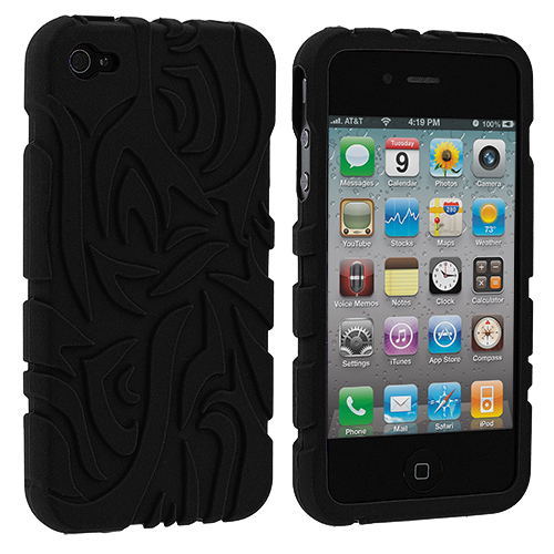 Apple iPhone 4 / 4S Black Totem Silicone Soft Skin Case Cover