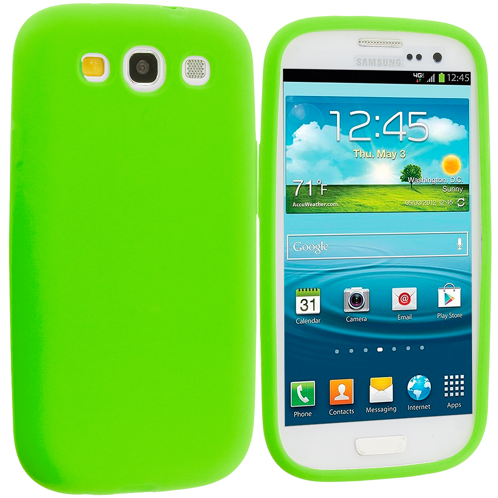 Samsung Galaxy S3 Neon Green Silicone Soft Skin Case Cover