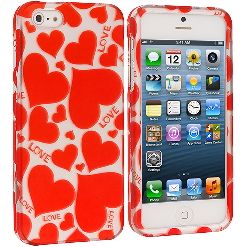 Apple iPhone 5/5S/SE Hearts w Different Shapes Hard Rubberized Design Case Cover