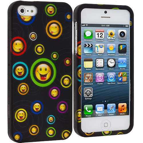 Apple iPhone 5/5S/SE Combo Pack : Cartoon Smile Hard Rubberized Design Case Cover : Color Cartoon Smile