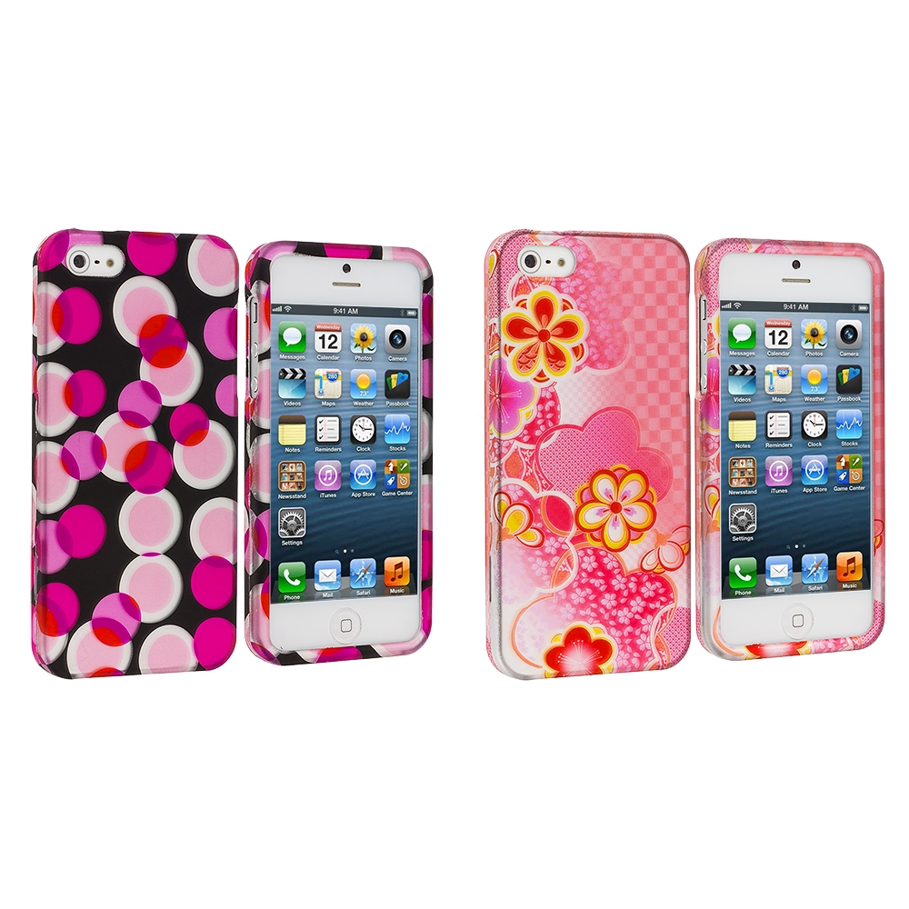 Apple iPhone 5 Combo Pack : Hot Pink Bubbles Hard Rubberized Design Case Cover