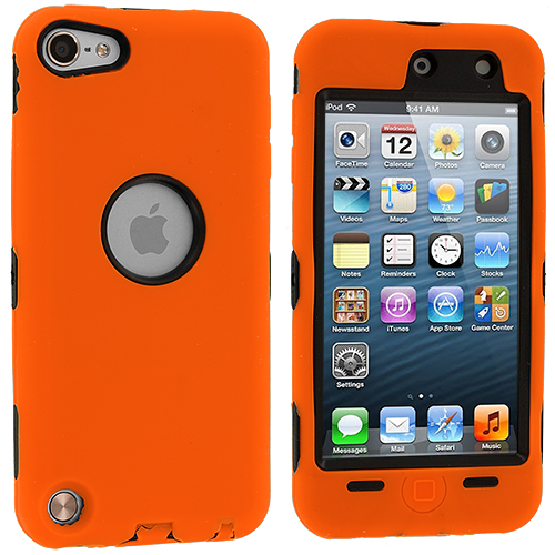 Apple iPod Touch 5th 6th Generation 2 in 1 Combo Bundle Pack - White Orange Deluxe Hybrid Deluxe Hard/Soft Case Cover : Color Orange Deluxe
