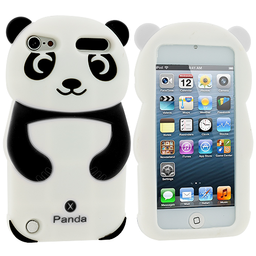 Apple iPod Touch 5th 6th Generation Black Panda Silicone Design Soft Skin Case Cover
